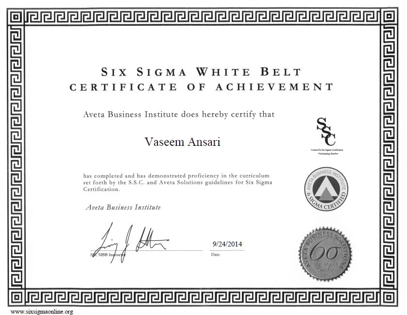 Six Sigma White Belt Certification of Vaseem Ansari